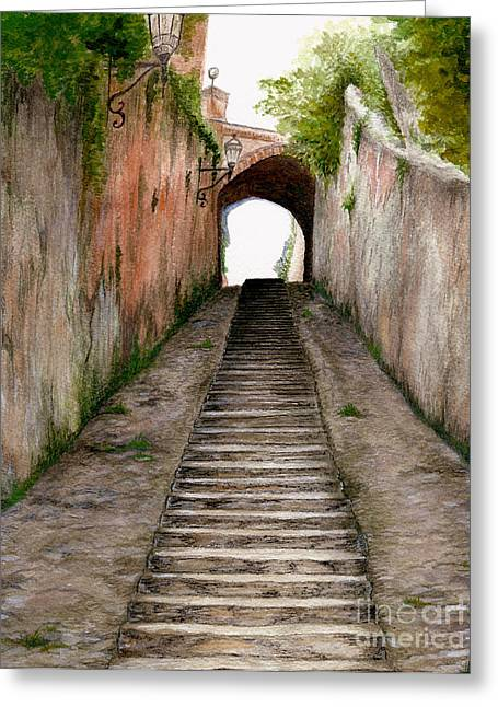 Italian Walkway Steps To A Tunnel Greeting Card