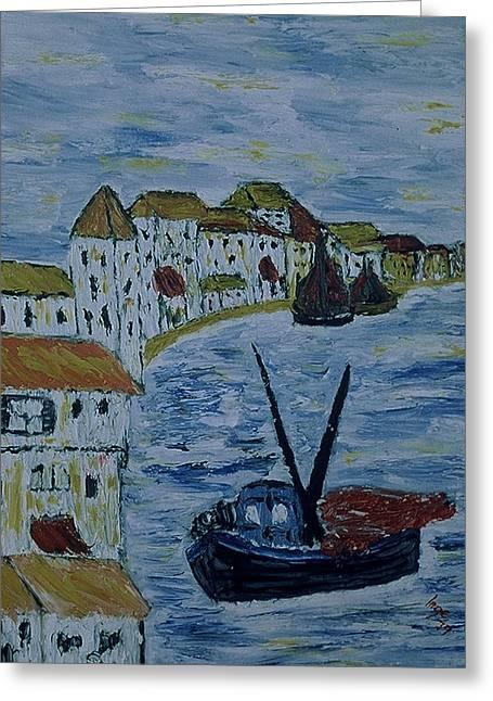 Italien Fishing Town Greeting Card by Inge Lewis