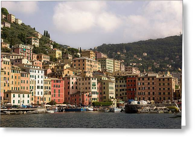 Italy, Camogli Boats Moored In Harbor Greeting Card by Jaynes Gallery