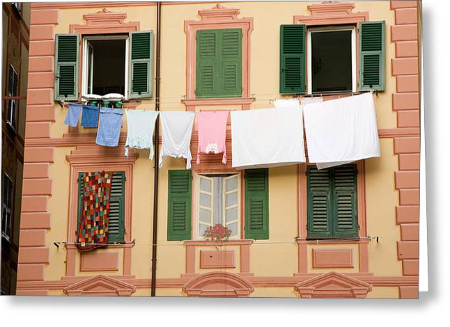 Italy, Camogli Laundry Hangs Greeting Card by Jaynes Gallery
