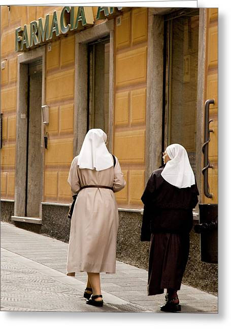 Italy, Camogli Two Nuns Walk Greeting Card by Jaynes Gallery