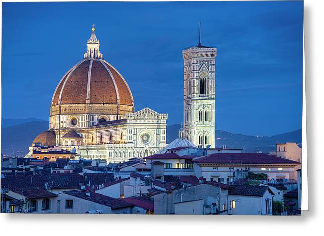 Italy, Florence, Cathedral, Duomo, Night Greeting Card