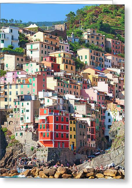 Italy Liguria Cinque Terre Riomaggiore Greeting Card by Panoramic Images