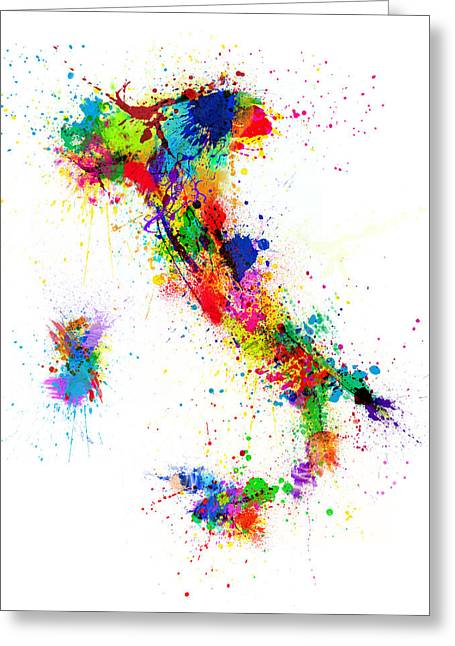 Italy Map Paint Splashes Greeting Card
