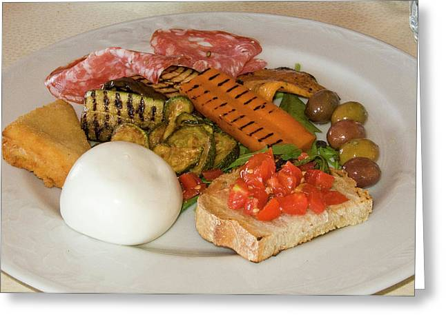 Italy, Naples Plate With Variety Greeting Card by Jaynes Gallery
