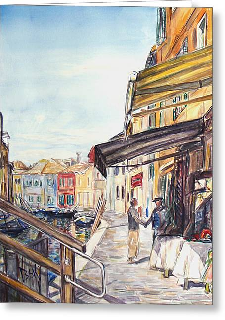 Italy Shop How Are You Doing Greeting Card by Becky Kim