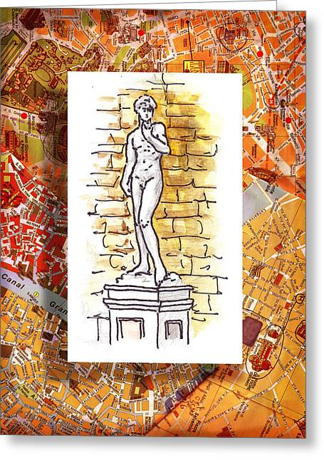 Italy Sketches Michelangelo David Greeting Card by Irina Sztukowski