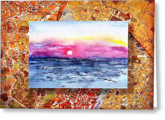 Italy Sketches Sorrento Sunset Greeting Card by Irina Sztukowski