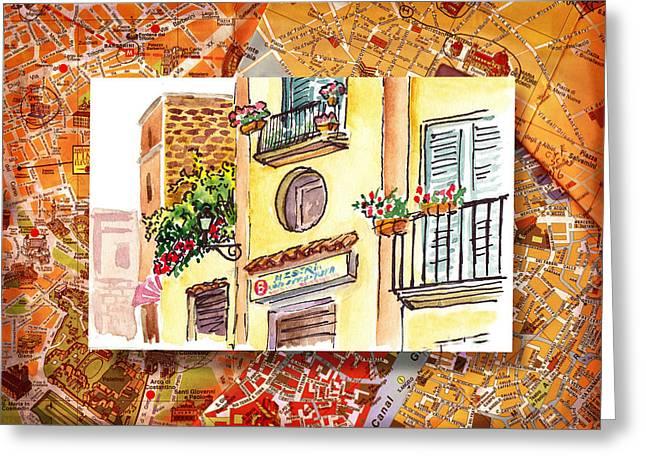 Italy Sketches Streets Of Sorrento  Greeting Card by Irina Sztukowski
