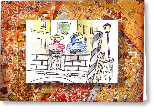 Italy Sketches Venice Two Gondoliers Greeting Card by Irina Sztukowski