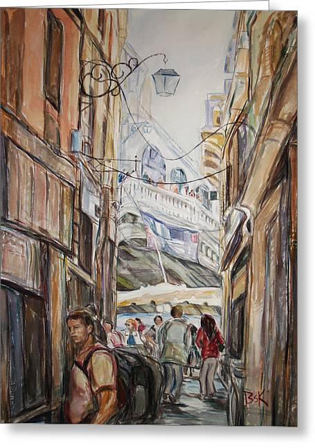 Italy Travelers Greeting Card by Becky Kim