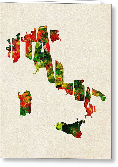 Italy Typographic Watercolor Map Greeting Card by Ayse Deniz