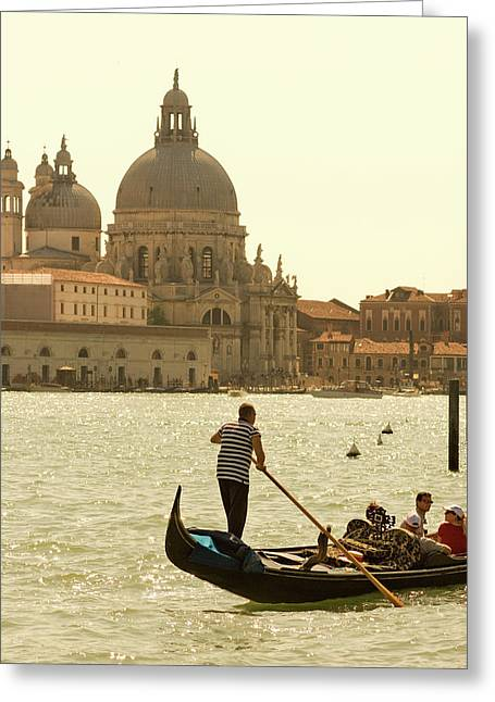 Italy, Venice A Gondolier Ferries Greeting Card by David Noyes