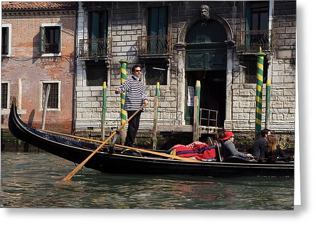 Italy, Venice A Gondolier Strikes Greeting Card by Jaynes Gallery