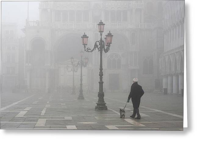 Italy, Venice A Man Walks His Dog Greeting Card by Jaynes Gallery