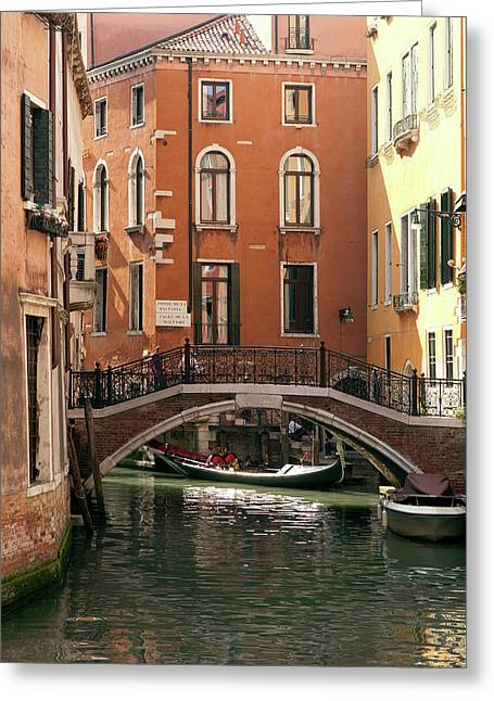 Italy, Venice A Small Bridge Greeting Card by David Noyes
