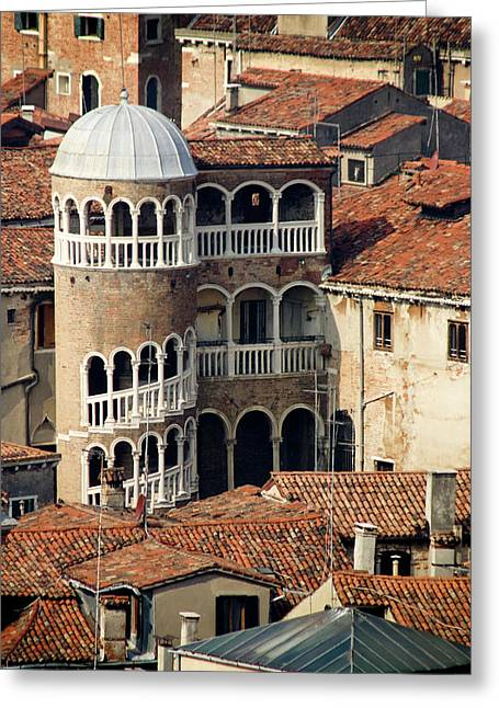 Italy, Venice Building With Spiral Greeting Card by Jaynes Gallery