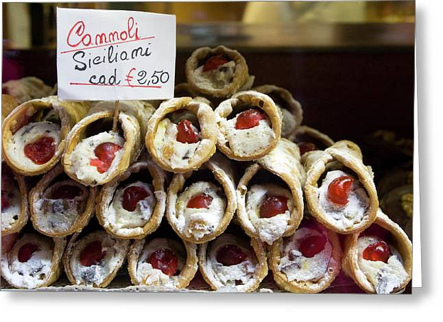 Italy, Venice Cannoli For Sale Seen Greeting Card by Jaynes Gallery