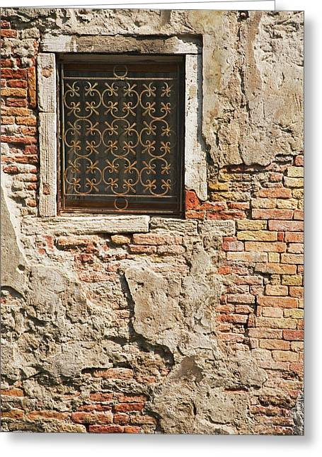 Italy, Venice Ornate Metalwork Window Greeting Card