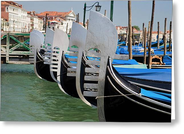 Italy, Venice Prows Of A Row Greeting Card by Jaynes Gallery