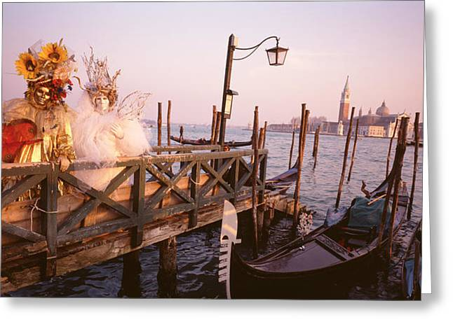 Italy, Venice, St Marks Basin, People Greeting Card by Panoramic Images