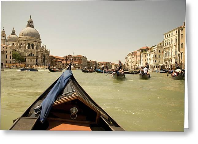 Italy, Venice Tourists Ride In Gondolas Greeting Card by David Noyes