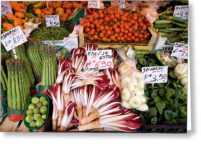 Italy, Venice Vegetables For Sale Greeting Card by Jaynes Gallery