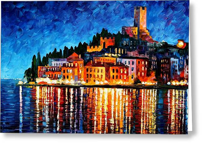 Italy-verona - Palette Knife Oil Painting On Canvas By Leonid Afremov Greeting Card by Leonid Afremov
