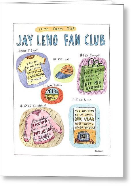 Items From The Jay Leno Fan Club Greeting Card