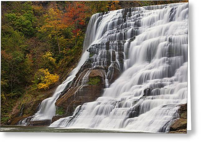 Ithaca Falls In Autumn Greeting Card by Michele Steffey