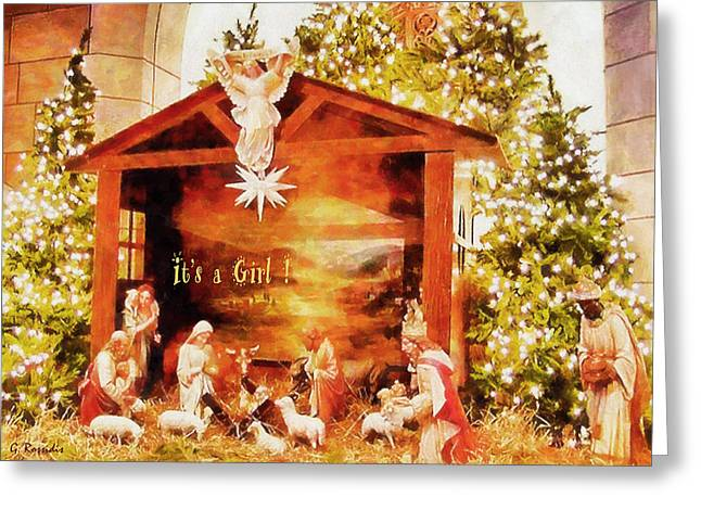 It's A Girl Greeting Card by George Rossidis