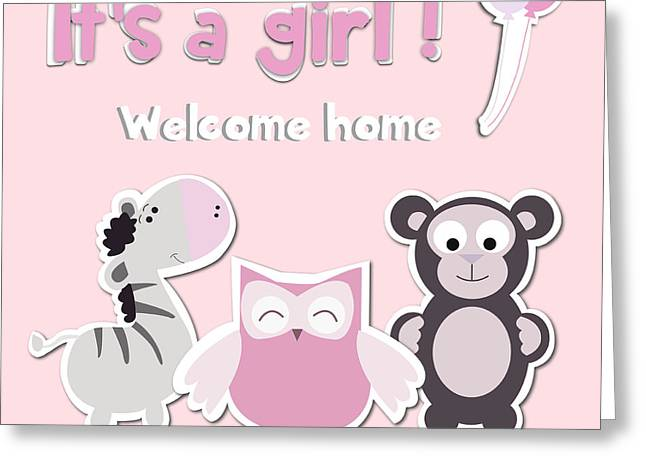 Its A Girl Greeting Card by Gina Dsgn