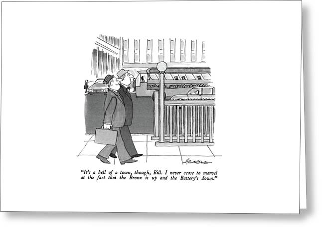 It's A Hell Of A Town Greeting Card by J.B. Handelsman