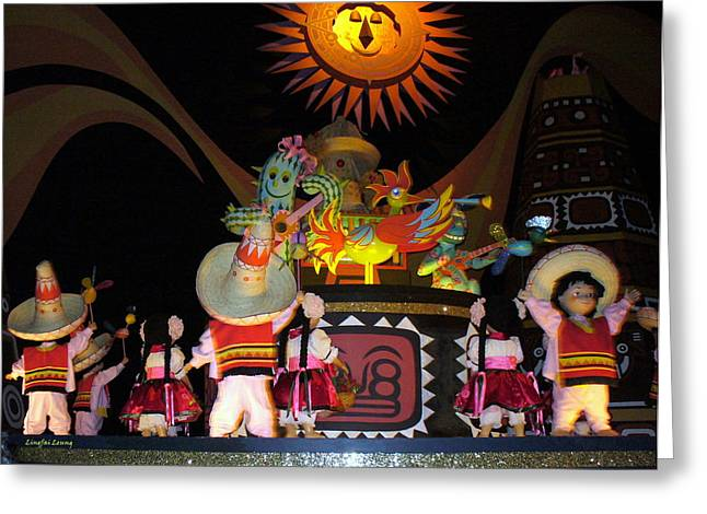 It's A Small World With Dancing Mexican Character Greeting Card by Lingfai Leung