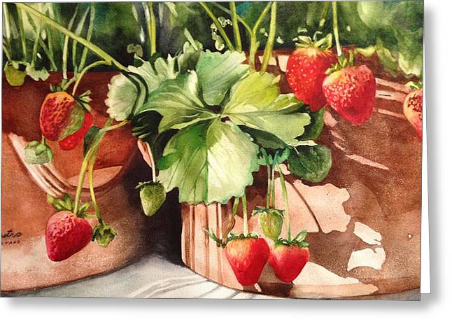 Greeting Card featuring the painting It's Berry Season by Diane Fujimoto
