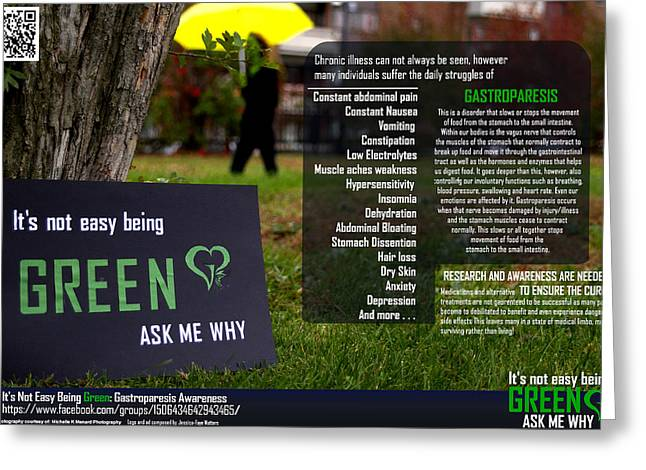 It's Not Easy Being Green Poster Greeting Card by Jessica-Faye Watters