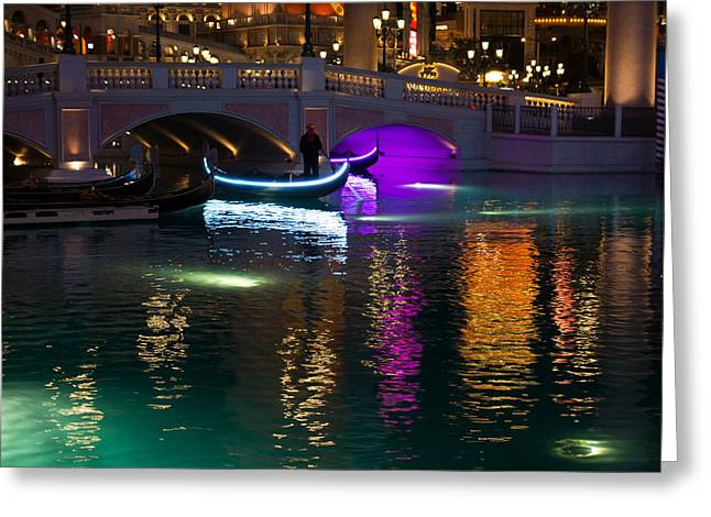 It's Not Venice - Brilliant Lights Glamorous Gondolas And The Magic Of Las Vegas At Night Greeting Card by Georgia Mizuleva