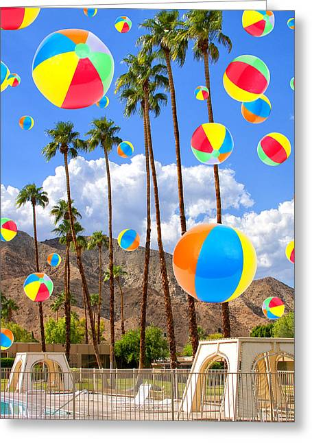 Its Raining Beach Balls Palm Springs Greeting Card by William Dey