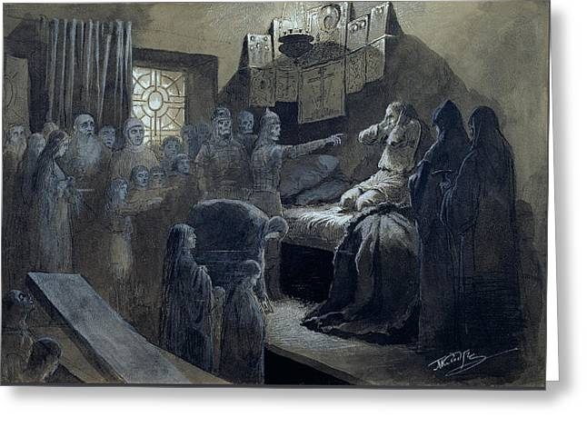 Ivan The Terrible Visited By The Ghosts Of Those He Murdered Greeting Card by Baron Mikhail Petrovich Klodt von Jurgensburg