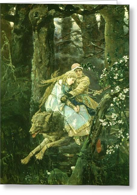 Ivan Tsarevich Riding The Grey Wolf, 1889 Oil On Board Greeting Card by Victor Mikhailovich Vasnetsov