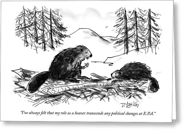 I've Always Felt That My Role As A Beaver Greeting Card by Donald Reilly