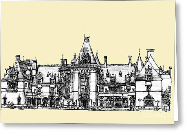 Ivory Biltmore Estate Greeting Card by Building  Art