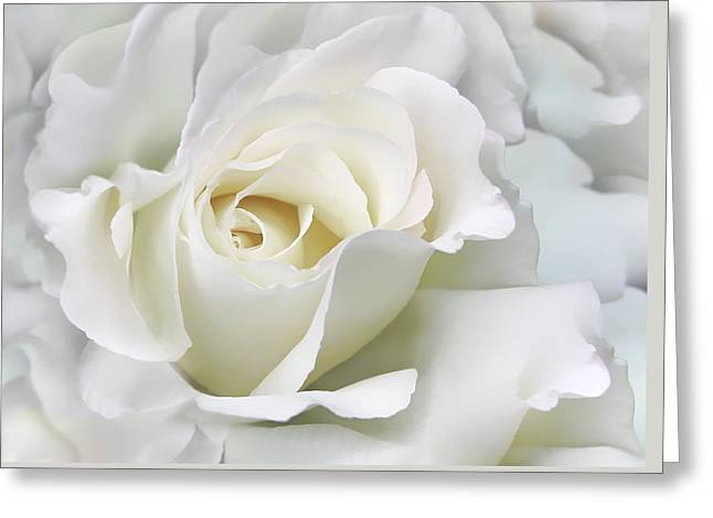 Ivory Rose Flower In The Clouds Greeting Card by Jennie Marie Schell