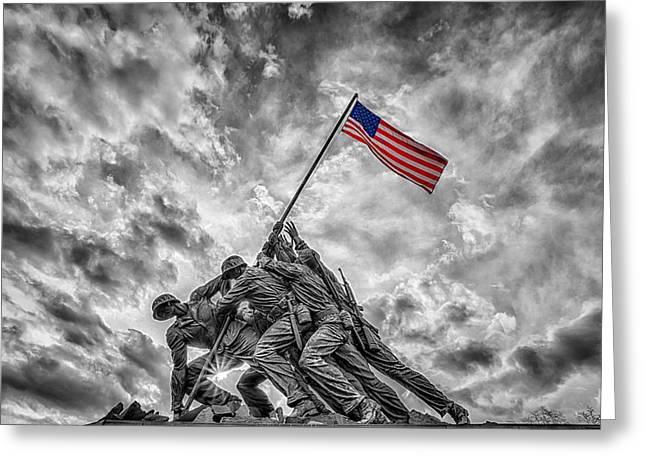 Iwo Jima Memorial Bw 1 Greeting Card by Susan Candelario