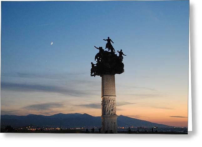 Izmir War Monument On Kordon Greeting Card by Jacqueline M Lewis