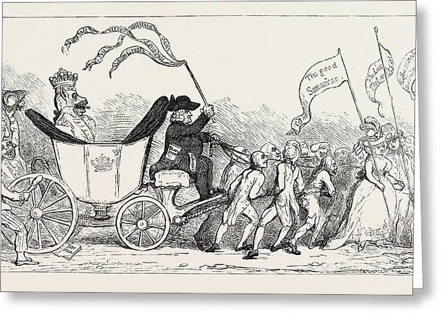 J. Gillray The Pacific Entrance Of Earl Wolf Lord Lonsdale Greeting Card by English School