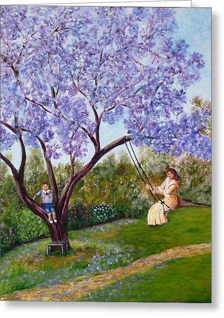 Greeting Card featuring the painting Jacaranda Time by Renate Voigt