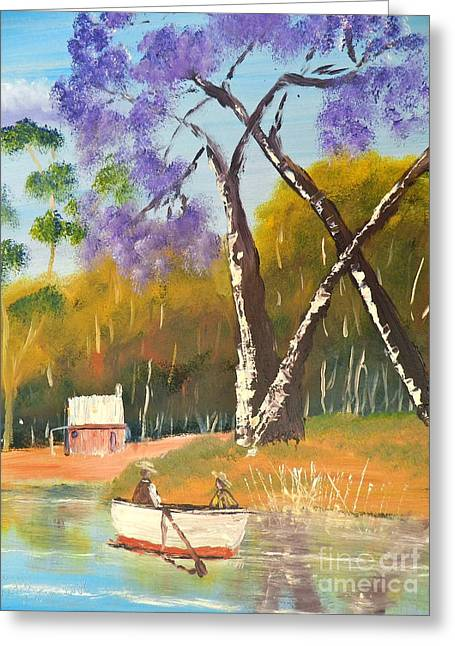 Greeting Card featuring the painting Jacaranda Tree by Pamela  Meredith