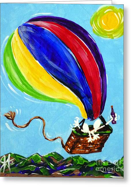 Greeting Card featuring the painting Jack And Charlie Fly Away by Jackie Carpenter