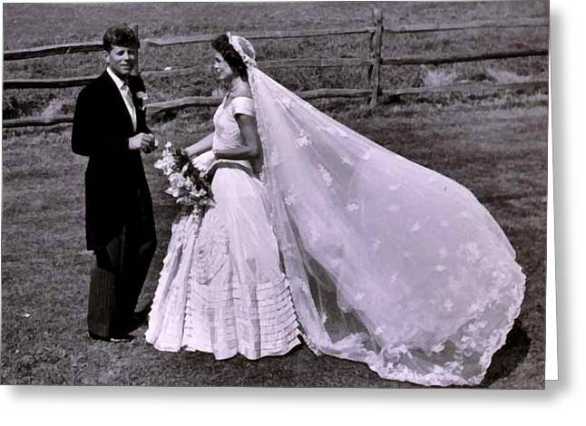Jack And Jackie Kennedy Wedding Greeting Card by Toni Frissell